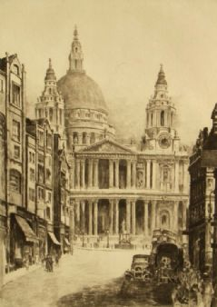 W. Wood pencil signed 'St Pauls, London' 1900's